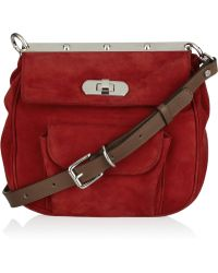 Marni Suede and Leather Shoulder Bag - Lyst