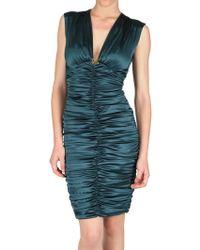 Roberto Cavalli Gathered Silk Satin Stretch Dress - Lyst