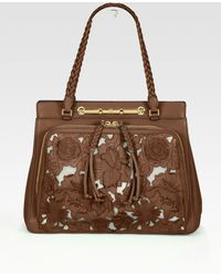 Valentino Demetra Leather & Mesh Top-Handle Bag - Lyst