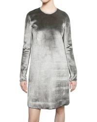 Calvin Klein Metal Trim Viscose Silk & Velvet Dress - Lyst