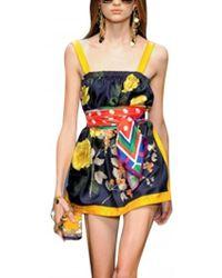 D&G Printed Silk Twill Dress - Lyst