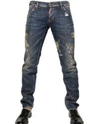 DSquared² 19cm Painted Denim Slim Fit Jeans - Lyst