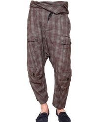 John Galliano Crinkled Checked Wool Trousers - Lyst