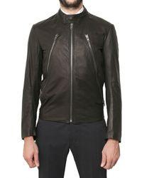 Maison Margiela Double Zip Biker Leather Jacket - Lyst