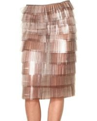 Marc Jacobs Fringing On Mesh Pencil Skirt pink - Lyst
