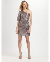 Shoshanna Metallic Silk Dress - Lyst