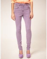ASOS - Asos High Waisted Skinny Jean in Lilac - Lyst
