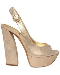 Casadei 130mm Laminated Suede Sandals - Lyst