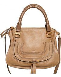 Chloé Medium Leather Marcie Top Handle brown - Lyst