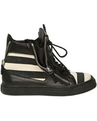Giuseppe Zanotti Leather & Canvas High Top Sneakers - Lyst