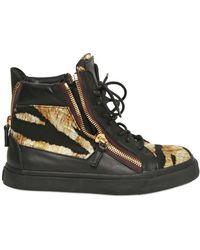 Giuseppe Zanotti Leather & Printed Satin High Top Sneaker - Lyst