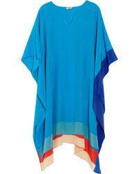 Issa - Block Color Silk Poncho - Lyst