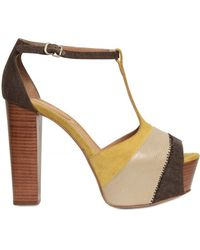 See By Chloé 120mm Printed Leather and Canvas Sandals - Lyst