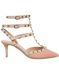 Valentino 65mm Leather Rockstud Pointy Pumps - Lyst