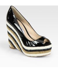 Brian Atwood - Alysha Patent Leather Espadrille Wedge Pumps - Lyst