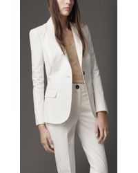 Burberry Fitted Stretch Cotton Jacket - Lyst