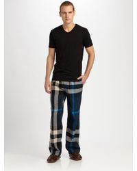 Burberry Checked Cotton Lounge Trousers blue - Lyst