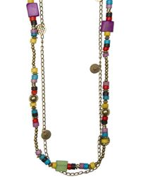 Mango Colored Beads Multi-necklace - Lyst