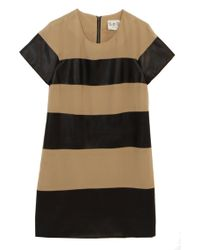 Sea Silk And Leather Striped Dress black - Lyst