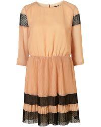 Topshop Spot Mesh Pleat Dress - Lyst