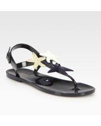 Saint Laurent Star-adorned Jelly Sandals - Lyst
