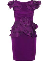 Notte by Marchesa Ruffled Silk-crepe Dress - Lyst