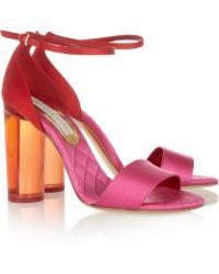 Stella McCartney Perspex-heeled Two-tone Satin Sandals - Lyst