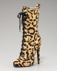 Giambattista Valli - Lace-up Leopard Boot - Lyst