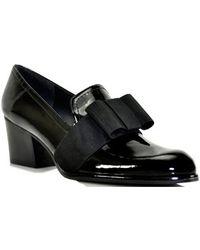 Stuart Weitzman Smoking - Black Patent Leather Loafer Pump - Lyst