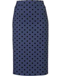 Topshop Flock Spot Pencil Skirt - Lyst