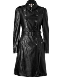 Burberry Black Trench Style Leather Coat - Lyst