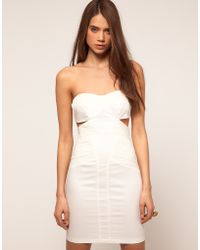 ASOS Collection Bandeau Dress With Cut Outs And Ruched Mesh - Lyst