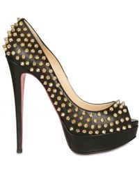 Christian louboutin Lady Peep Spikes Suede Pumps in Blue (sand ...