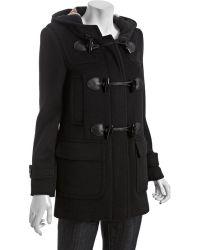 Burberry Brit Black Wool Hooded Toggle Coat - Lyst