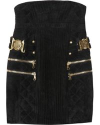 Balmain High-waisted Quilted Suede Skirt black - Lyst