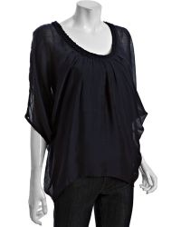 Kas - Navy Silk-cotton Cassandra Braid Trim Blouse - Lyst