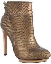 Mark + James by Badgley Mischka Bronze Snake Embossed Leather Fido Ankle Booties - Lyst
