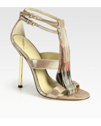B Brian Atwood Lenoire Metallic Leather Metal-fringe T-strap Sandals - Lyst