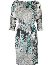 Helene Berman Printed Satin Dress - Lyst