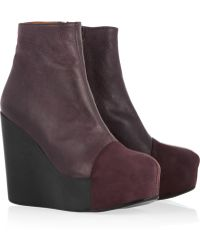 Minimarket - Wood Leather and Suede Wedge Ankle Boots - Lyst