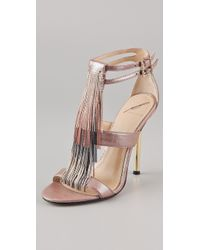 B Brian Atwood Lenoire Metallic Fringe Sandals - Lyst