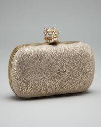 Alexander McQueen Pearl & Stingray Skull Box Clutch - Lyst