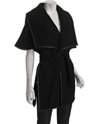 Halston Heritage Black Wool Blend Leather Trimmed Poncho - Lyst