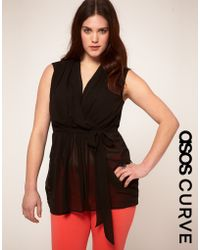 Asos Curve Exclusive Belted Wrap Top - Lyst
