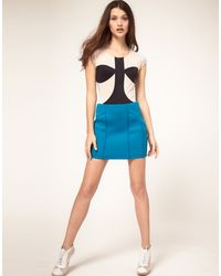 ASOS Collection Asos Scuba Mini Skirt with Piping Detail - Lyst