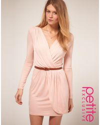 ASOS Collection Asos Petite Exclusive Long Sleeve Belted Wrap Front Dress pink - Lyst