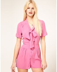 ASOS Collection Asos Pussybow Playsuit - Lyst