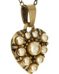 Cath Kidston - Antique Brass Cream Heart Pendant Necklace - Lyst