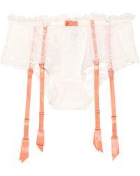 Nina Ricci Suspender-strap Lace Briefs beige - Lyst