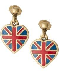 Cath Kidston - Antique Brass Tiny Union Jack Drop Earrings - Lyst